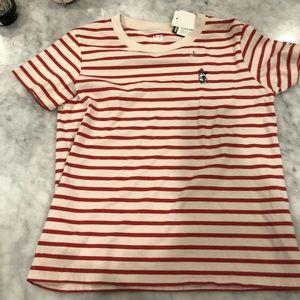 Uniqlo Minnie Appliqué Striped T shirt